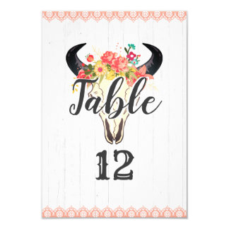 Boho Chic Cow Skull Floral Wedding Table Numbers