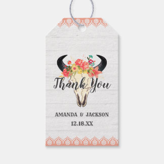 Boho Chic Cow Skull Floral Wedding Thank You Gift Tags