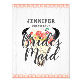 Boho Chic Cow Skull Will You Be My Bridesmaid Card