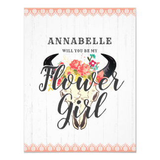 Boho Chic Cow Skull Will You Be My Flower Girl Card