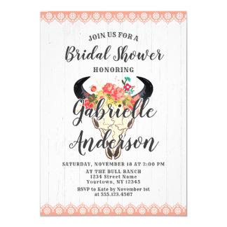 Boho Chic Cow Skull Wood Bridal Shower Invitation