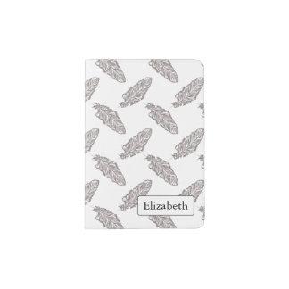 boho chic feather, bohemian pattern passport cover