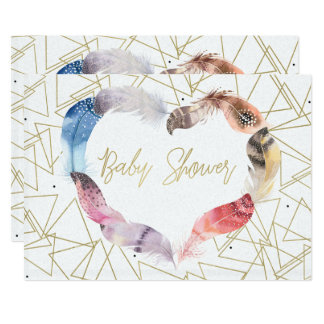 Boho Chic Feather Heart Baby Shower Invitations