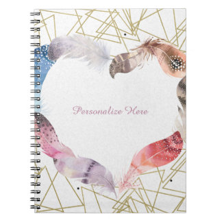 Boho Chic Feather Heart Glam Modern Notebook