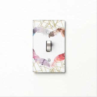 Boho Chic Feather Heart Modern Glam Bedroom Light Switch Cover