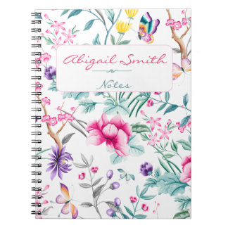 Boho Chic Floral Chinoiserie Personalized Notebook