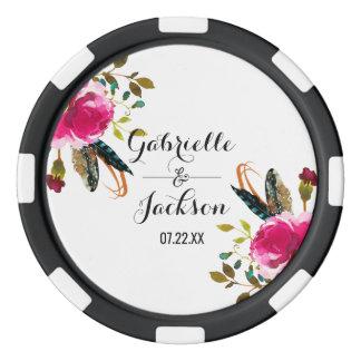 Boho Chic Floral Watercolor Wedding Favor Poker Chips