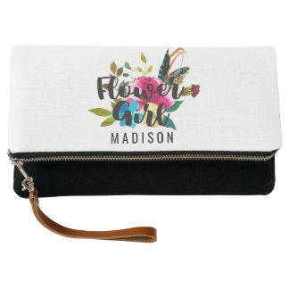 Boho Chic Floral Watercolor Wedding Flower Girl Clutch