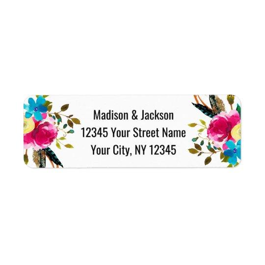 Boho Chic Floral Watercolor Wedding Return Address Return Address Label