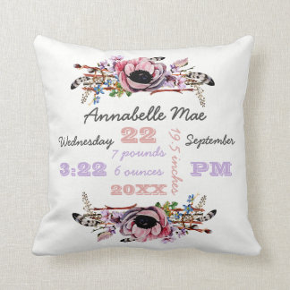 Boho Chic Floral Wreath | Baby Girl Birth Stats Throw Pillow