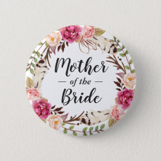 Boho Chic Floral Wreath Mother of the Bride Groom 2 Inch Round Button