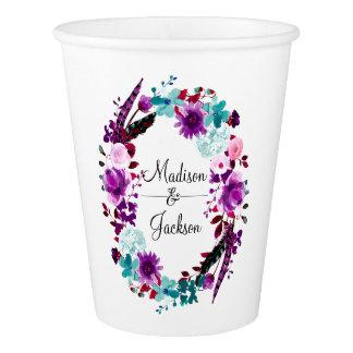 Boho Chic Floral Wreath Purple Wedding Monogram Paper Cup