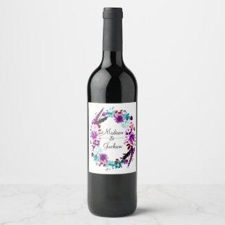 Boho Chic Floral Wreath Purple Wedding Monogram Wine Label