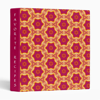 Boho Chic Flowers Pattern Magenta and Gold Recipes Binder