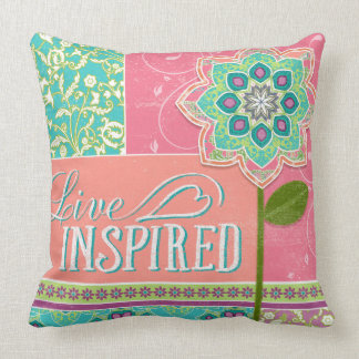 BOHO Chic Fun Live Inspired Bright Cottage Floral Throw Pillow