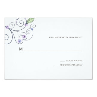 BOHO Chic Garden Wedding Purple RSVP Card