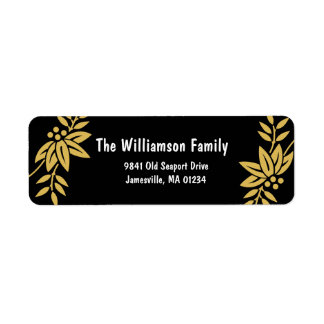 Boho Chic Gold Leaves Return Address Labels