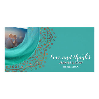 Boho Chic Gold Mandala Teal | Wedding Thank You Custom Photo Card