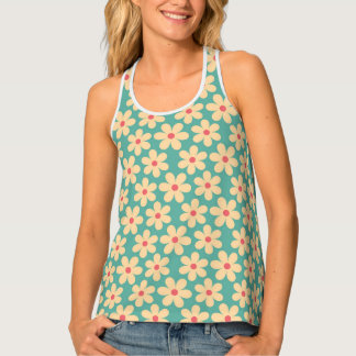 Boho Chic Hippie Happy Daisy Motif Tank Top