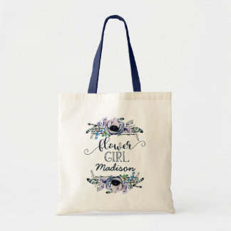 Boho Chic Mint & Navy Floral Wedding Flower Girl Tote Bag