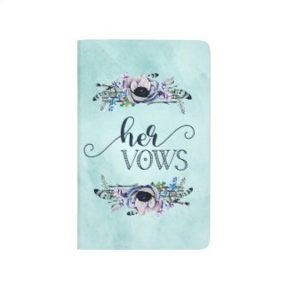 Boho Chic Mint & Navy Floral Wedding Her Vows Journal
