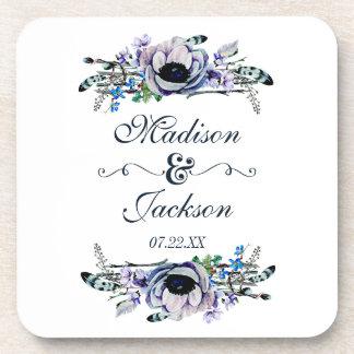 Boho Chic Mint & Navy Floral Wedding Monogram Coaster
