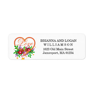 Boho Chic Open Heart Filled with Love and Flowers Return Address Label
