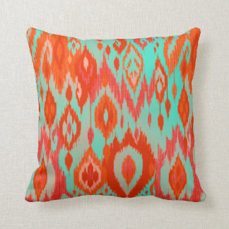 Boho Chic orange red turquoise Ikat Tribe Tapestry Throw Pillows