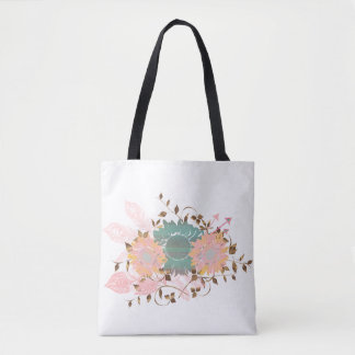 Boho Chic Pastel Sunflower Vine Tote Bag