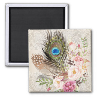 Boho Chic Peacock Feather and Roses Magnet