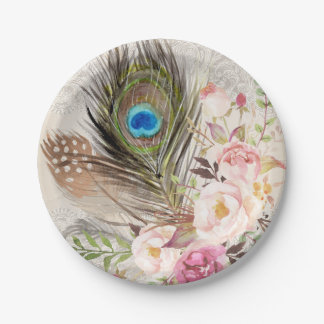 Boho Chic Peacock Feather and Roses Paper Plate 7 Inch Paper Plate