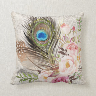 Boho Chic Peacock Feather and Roses Pillow