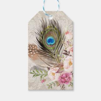 Boho Chic Peacock Feather Hang Tag Gift Tag