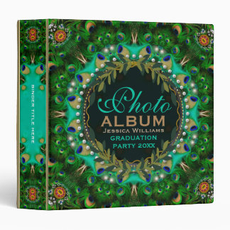 Boho-Chic Peacock Feathers Lace Photo Album Binders