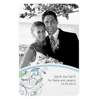 BOHO Chic Photo Save the Date Blue Budget Rectangular Photo Magnet
