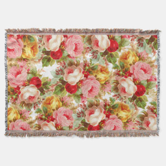 Boho chic pink ivory vintage roses floral painting throw blanket
