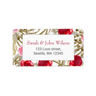 boho chic pretty watercolor floral address labels