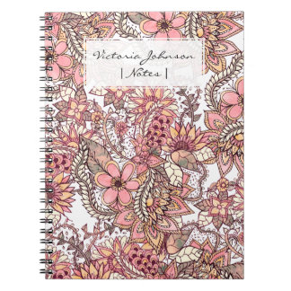 Boho chic red brown floral handdrawn pattern notebooks