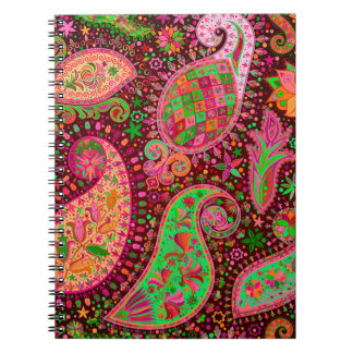 Boho Chic Retro Hippy Paisley Spiral Notebook