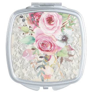Boho Chic Roses and Lace Compact Mirror