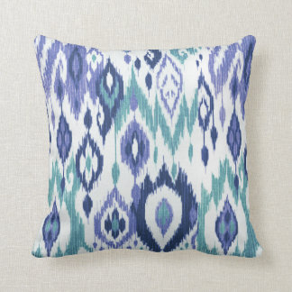 Boho Chic slate aqua icy blue Ikat Tribal Tapestry Throw Pillow