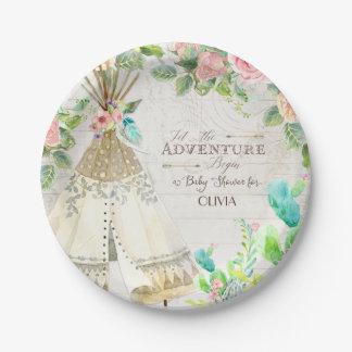 BOHO Chic Teepee Cactus Baby Girl Shower Wood Art 7 Inch Paper Plate