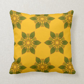 Boho Chic Tile Style Leaf Pattern on Golden Yellow Throw Pillow