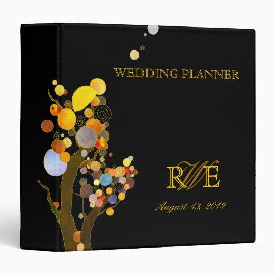 Boho Chic Trees Evening Wedding Planner Vinyl Binders