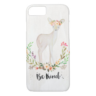 Boho Chic Watercolor Deer, Floral Crown, Be Kind iPhone 7 Case