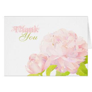 Boho Chic Watercolor Peony Wedding Thank You Card