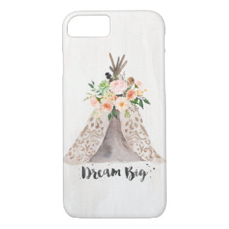 Boho Chic Watercolor Teepee and Floral Arrangement iPhone 8/7 Case