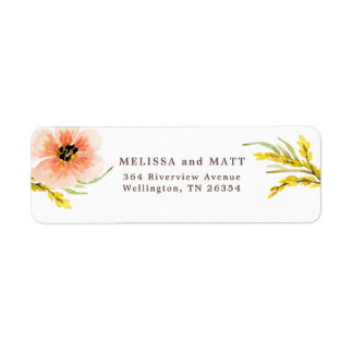 Boho Chic Wildflower Watercolor Return Label
