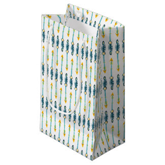 boho chic yellow blue arrows gift bag