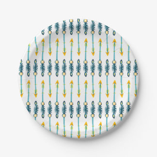 boho chic yellow blue watercolor arrows plates